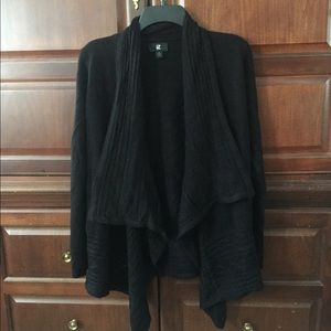 IZ Byer Black Open Front Long Sleeve Cardigan